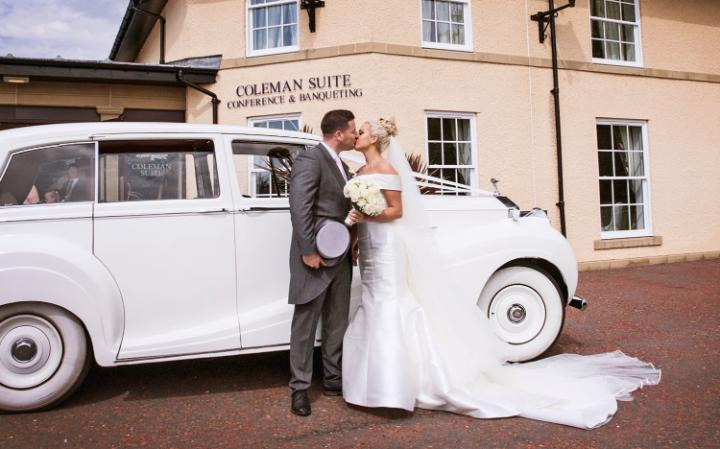 Jordan Roseberry married in a custom silk gown CREDIT: LEE SCULLION